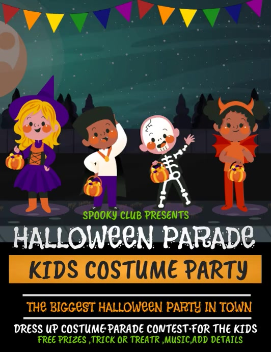 Costume party ,Halloween flyer, event flyer 传单(美国信函) template