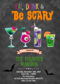 Costumes and cocktails party invitation A6 template