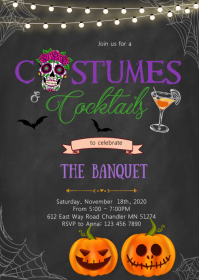 Costumes and cocktails party invitation