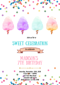 Cotton candy birthday party invitation