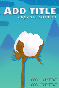 cotton plant in front of blue mountain landscape