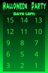 Countdown Halloween 15 days simple green