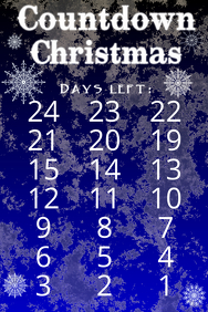 countdown to christmas with snowy night and snow flakes