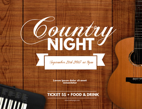Country guitar music event flyer template