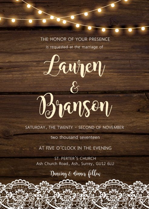 Country lace string light wedding theme A6 template