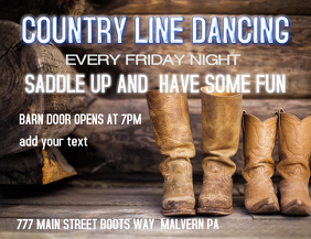 COUNTRY LINE DANCING Pamflet (Letter AS) template