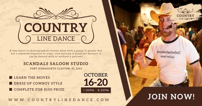 Country Line Dancing Class Studio Facebook Vi template