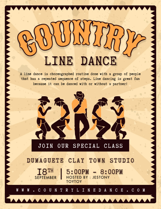 Country Line Dancing Competition Flyer Templa template