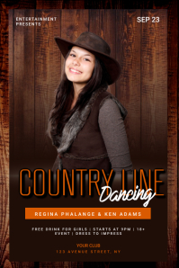 Country line dancing flyer template Poster