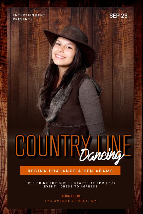 Country line dancing flyer template Cartaz