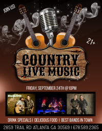 Country Live Music Flyer (US Letter) template