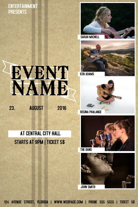 COUNTRY MUSIC BAND EVENT FLYER TEMPLATE WITH 5 PHOTOS