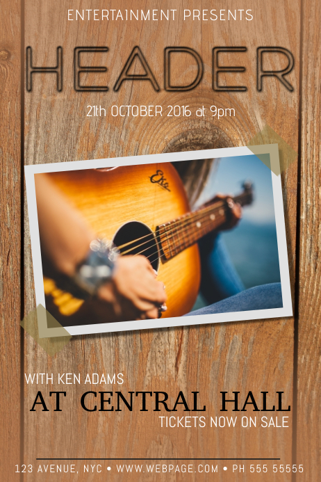 Country Music concert Guitar Concert Band Flyer template
