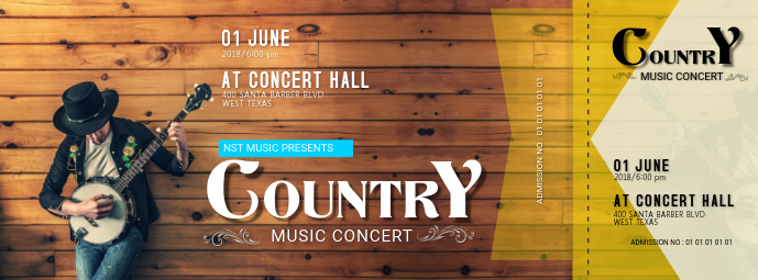 Country Music Concert Ticket Template Facebook Cover Photo