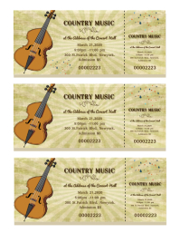 Country Music Concert Tickets Template