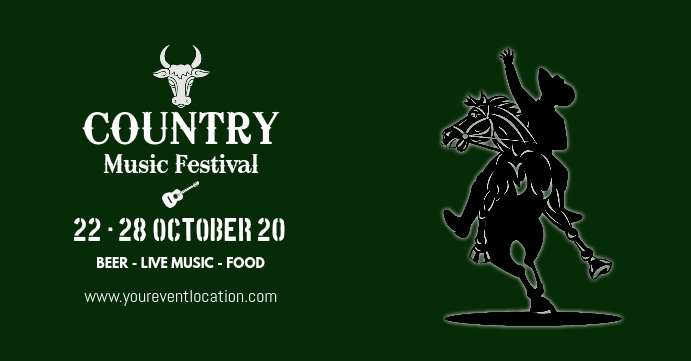 Country Music Festival Western Event Party ad Facebook-gebeurtenisomslag template