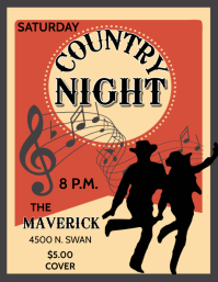 country music night Flyer (US Letter) template