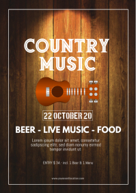 Country Music Party Festival Western Trucker A4 template