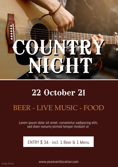 Country Night Music Festival Concert Plays Ad A4 template