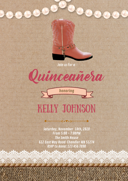 Country Quinceañera birthday invitation A6 template
