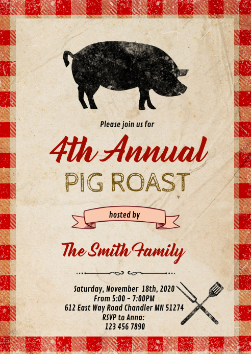 County Fair Pig roast party invitation A6 template