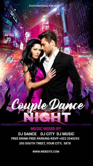 Couple Dance Party Template Digital na Display (9:16)