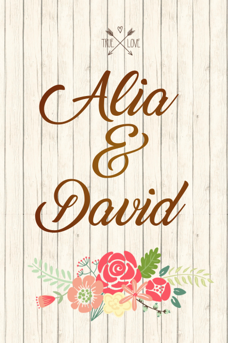Couples Floral Name Poster