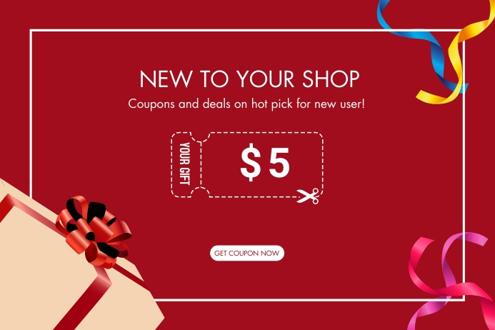 Coupon gift for new user ป้าย template