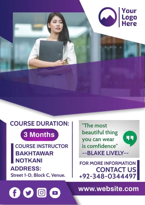 Course Flyer Design - Back to School A4 template