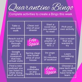 covid 19, quarantine, quarantine bingo, bingo Instagram Post template