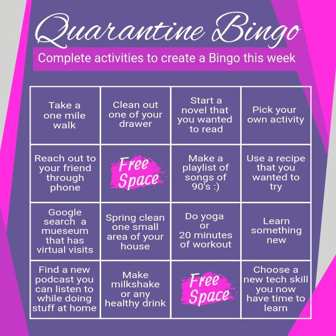covid 19, quarantine, quarantine bingo, bingo Instagram Plasing template