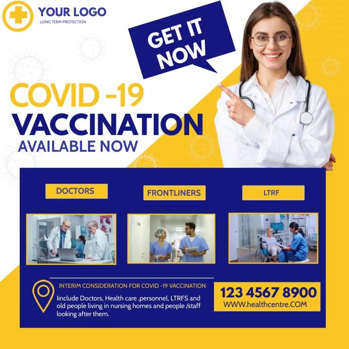Covid -19 ,Covid -19 vaccination, Vaccination Instagram Post template