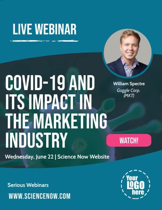 Covid 19 Coronavirus Live Webinar Online Post Pamflet (Letter AS) template