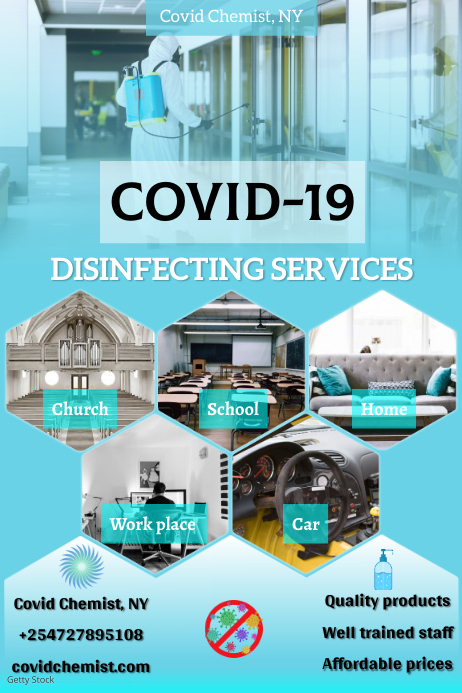 Covid 19 Disinfectant Poster template
