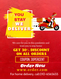 Covid-19 Food Delivery Poster Volante (Carta US) template