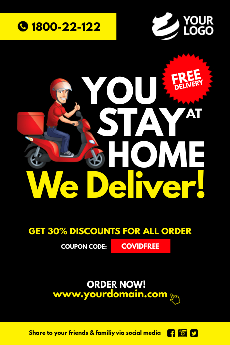 Copy of Covid-19 Food delivery Take Away Poster | PosterMyWall