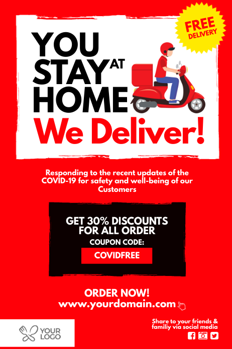 Covid-19 Food delivery Take Away Poster Template ...