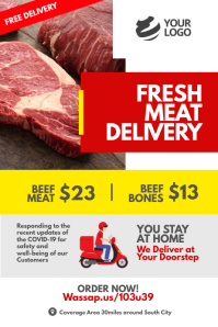 Covid-19 Fresh Meat Delivery Poster template