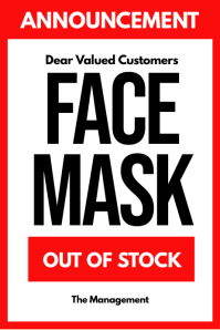 Covid-19 Out of Stocks face mask Poster Sign template