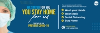 Covid-19 stay home banner Spanduk LinkedIn template
