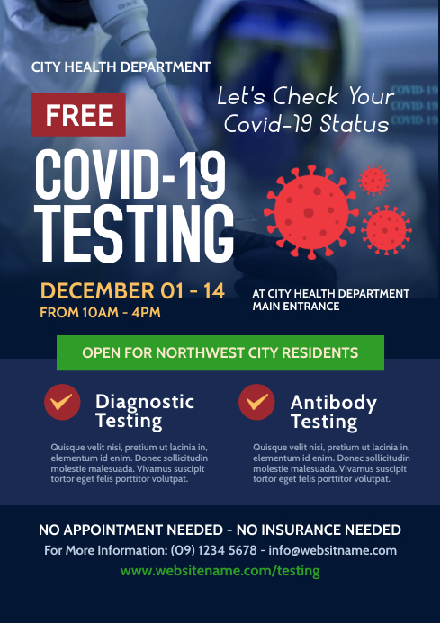 Covid-19 Testing Flyer A4 template