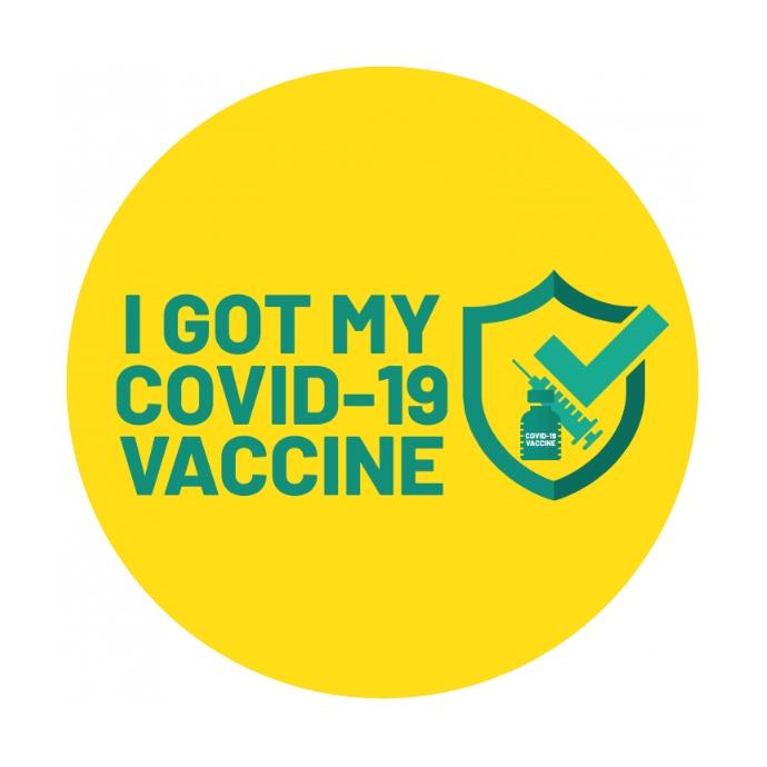 COVID-19 Vaccinated Sticker Logotipo template