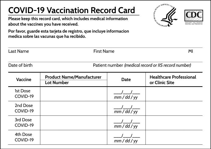 Covid-19 Vaccination Record Card Template A4
