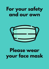 Covid signage face mask template A5