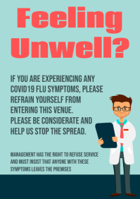 Covid19 Unwell Sign A3 template