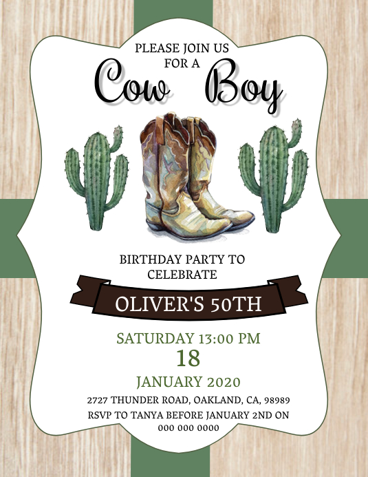 Cow Boy Birthday Party Invitation Template