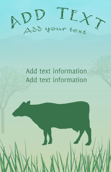 cow on grass with distant hills - tabloid farming template