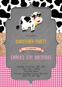 Cow petting zoo birthday party invitation