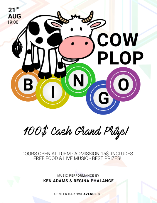 Cow Plop Bingo Flyer template Pamflet (VSA Brief)