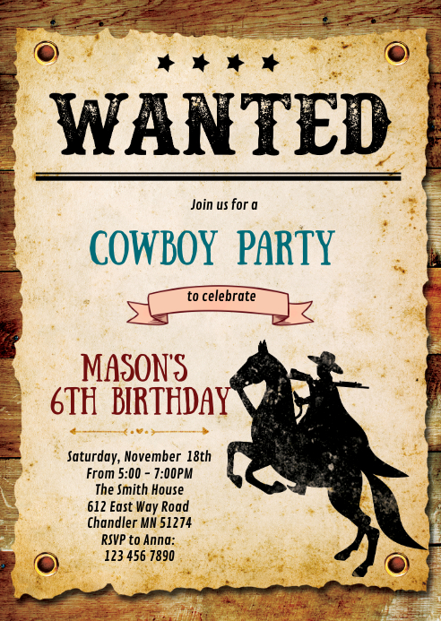 Cowboy birthday party invitation A6 template